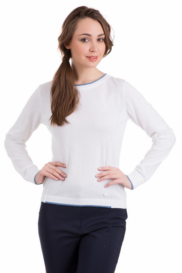 Пуловер PezzoПуловеры<br>Пуловер Pezzo белый. Такой цвет всегда смотрится нарядно и празднично. Синие декоративные полоски по краям рукавов, по низу пуловера и вокруг выреза горловины придают ему свежести и оригинальности. Удачный крой пуловера обеспечит идеальную посадку по вашей фигуре, а маленький декоративный элемент внизу лифа в форме сердечка сделает эту модель еще более элегантной и желанной. Состав: хлопок и полиэстер.<br><br>Размер RU: 50<br>Пол: Женский<br>Возраст: Взрослый<br>Материал: хлопок 60%, полиэстер 40%<br>Цвет: Белый