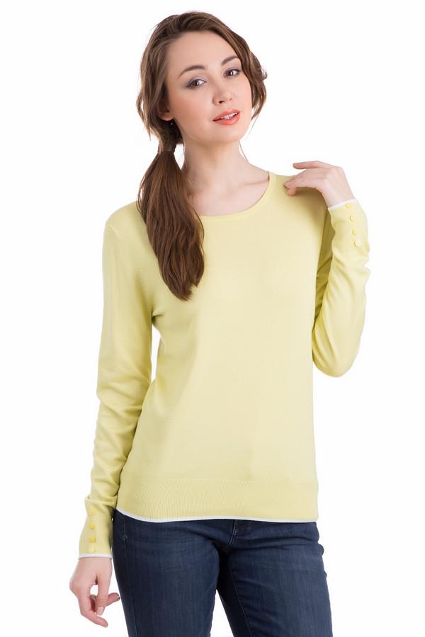 Пуловер PezzoПуловеры<br>Нежный женский пуловер Pezzo кремово-желтого цвета подчеркнет женственность своей владелицы. Прямой крой, длинные рукава, украшенные рядом из четырех пуговок желтого цвета в ряд на манжетах. Изделие украшено тонким белым кантом по краю манжет и низу изделия. В состав модели входят полиамид и вискоза. Осенью и весной в нем будет удобнее всего.<br><br>Размер RU: 52<br>Пол: Женский<br>Возраст: Взрослый<br>Материал: полиамид 19%, вискоза 81%<br>Цвет: Жёлтый