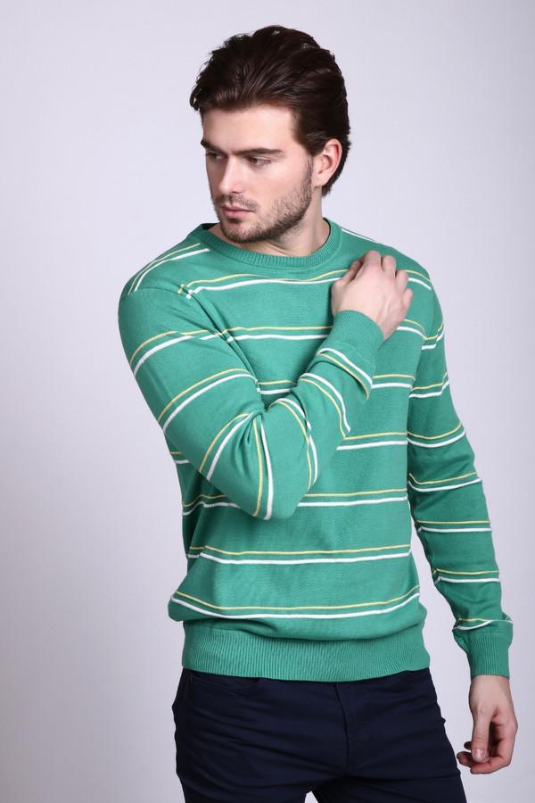 Джемпер PezzoДжемперы и Пуловеры<br>Необычный мужской джемпер Pezzo, сочетающий зеленый, белый и желтые цвета. Основной цвет - зеленый, джемпер с длинным рукавом разукрашен горизонтальными узкими полосами желтого и белого цвета. Манжеты и низ изделия окантованы широкой резинкой, горловина - узкой. Джемпер полностью выполнен из хлопка. В демисезон будет наиболее удобным в носке.