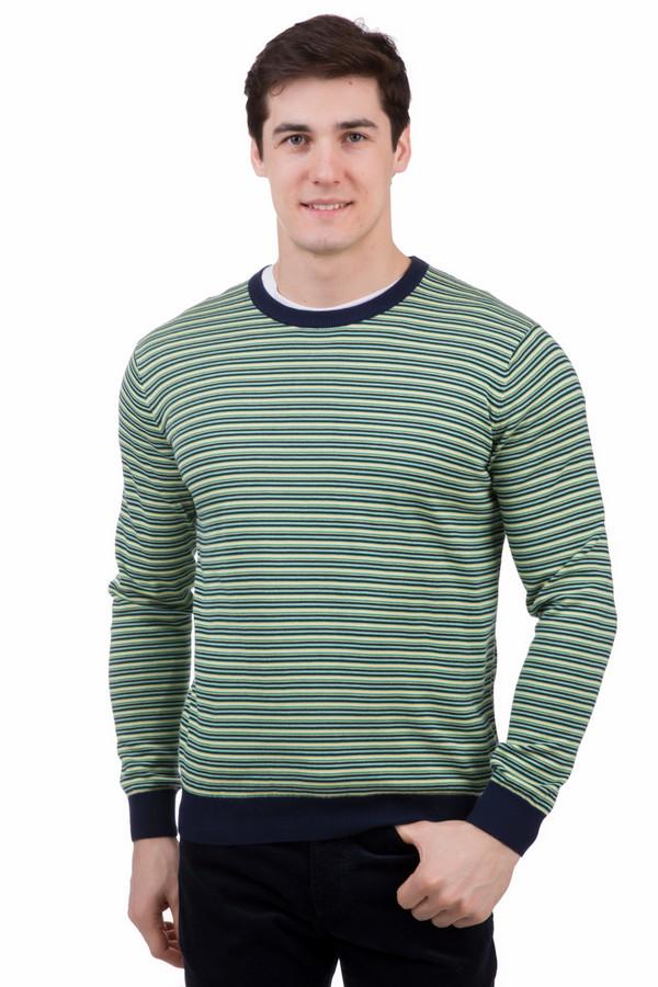 Джемпер PezzoДжемперы<br>Оригинальный мужской джемпер Pezzo, выполненный из полосатого материала, сочетающего белые, желтые, зеленые и синие цвета. Модель без воротника, с длинными рукавами. Края манжет и низ изделия выполнены из темно-синей широкой резинки, край горловины - из узкой темно-синей резинки. Изделие выполнено полностью из хлопка. Наиболее подходящее время для носки - демисезон.<br><br>Размер RU: 56<br>Пол: Мужской<br>Возраст: Взрослый<br>Материал: хлопок 100%<br>Цвет: Разноцветный