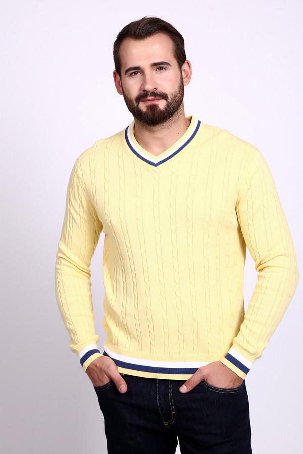 Джемпер PezzoДжемперы и Пуловеры<br>Джемпер Pezzo желтый. Восхитительный, такой теплый и солнечный цвет придется по душе натурам деятельным и оптимистичным! Рекомендуем этот джемпер для базового мужского гардероба. Данная вещь проста по своему фасону, но при этом очень привлекательна. Отделка полосами других цветов (белый и синий) треугольного выреза горловины, низа самого изделия и его рукавов освежает данное изделие. Состав: хлопок и акрил.