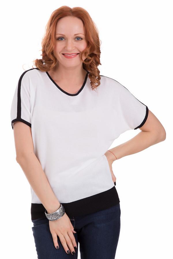 Пуловер PezzoПуловеры<br>Необычный женский пуловер Pezzo белого цвета с черными вставками. Пуловер с коротким рукавом, покроя летучая мышь, небольшим вырезом горловины. Окантованы края черной резинкой различной ширины. В состав данного изделия входят хлопок и вискоза. Осенью и весной носить такой пуловер будет наиболее комфортно.<br><br>Размер RU: 44<br>Пол: Женский<br>Возраст: Взрослый<br>Материал: вискоза 70%, хлопок 30%<br>Цвет: Белый