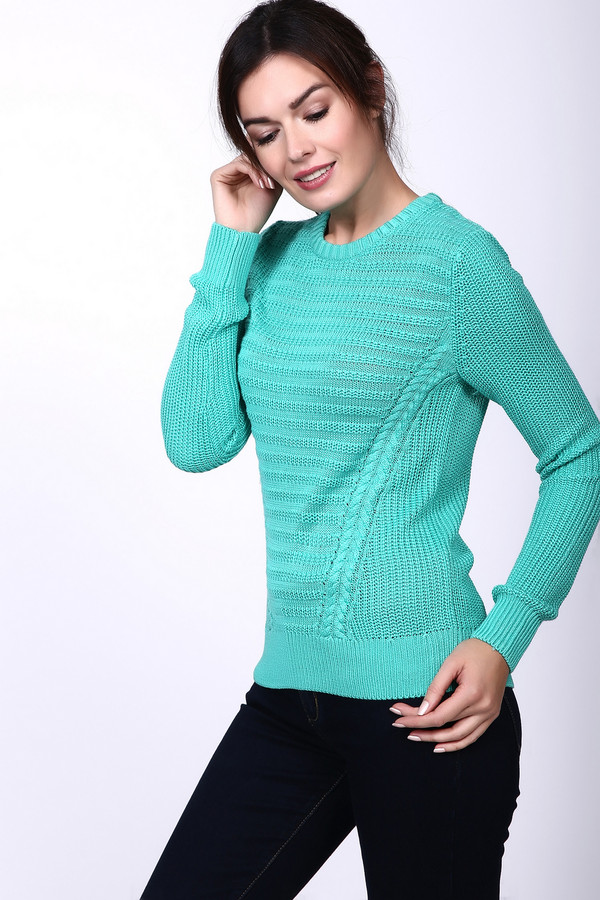 Пуловер PezzoПуловеры<br>Вязаный женский пуловер Pezzo бирюзового цвета. Необычный вязаный узор, который дополнен двумя вязаными косами, создает узор, визуально утягивающий талию и стройнящий фигуру. Модель с длинным рукавом и небольшим вырезом. В состав этого изделия входят вискоза и акрил. Весной и осенью этот пуловер будет отличным выбором.<br><br>Размер RU: 44<br>Пол: Женский<br>Возраст: Взрослый<br>Материал: вискоза 50%, акрил 50%<br>Цвет: Зелёный