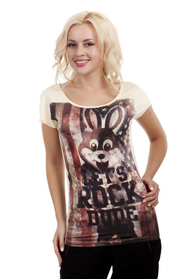 Футболка LocustФутболки<br>Модная футболка бренда Locust выполнено из натурального хлопкового материала бежевого цвета. Изделие дополнено: u-образным вырезом и короткими рукавом-кимоно. Футболка декорирована стильным принтом с надписями, американским флагом и зайцем. Спинка оформлена вставкой из прозрачной ткани.<br><br>Размер RU: 40-42<br>Пол: Женский<br>Возраст: Взрослый<br>Материал: хлопок 100%<br>Цвет: Бежевый