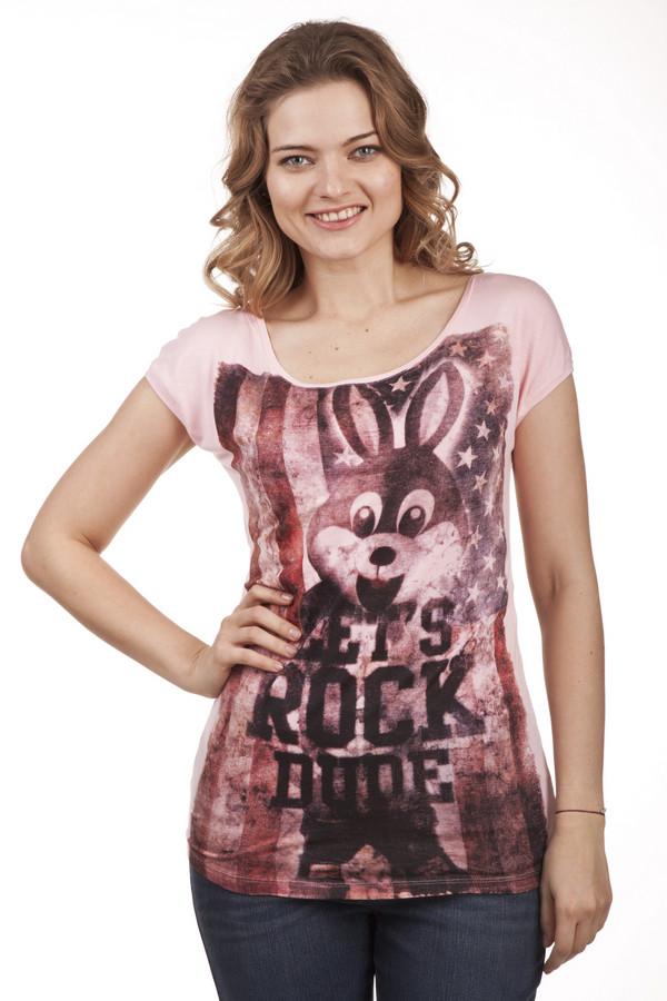 Футболка LocustФутболки<br>Модная футболка бренда Locust выполнено из натурального хлопкового материала нежно-розового цвета. Изделие дополнено: u-образным вырезом и короткими рукавом-кимоно. Футболка декорирована стильным принтом с надписями, американским флагом и зайцем. Спинка оформлена вставкой из прозрачной ткани.<br><br>Размер RU: 40-42<br>Пол: Женский<br>Возраст: Взрослый<br>Материал: хлопок 100%<br>Цвет: Розовый