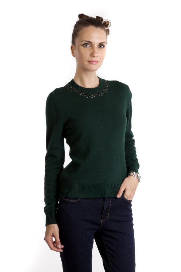 Пуловер PezzoПуловеры<br>Темно-зеленый женский пуловер Pezzo приталенного кроя. Изделие дополнено: круглым вырезом и длинными рукавами. Ворот, манжеты и нижний кант оформлены трикотажной резинкой. Ворот декорирован плоскими бусинами металлического цвета.<br><br>Размер RU: 44<br>Пол: Женский<br>Возраст: Взрослый<br>Материал: полиэстер 30%, нейлон 20%, шерсть 5%, вискоза 40%, ангора 5%<br>Цвет: Зелёный