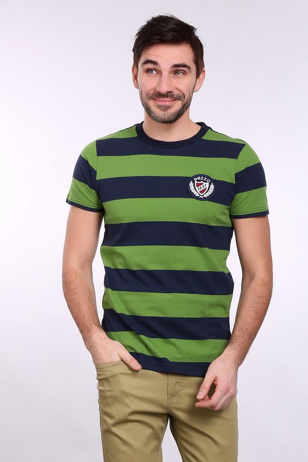 Футболкa PezzoФутболки<br>Футболкa Pezzo в полоску сине-зеленая. Эти два цвета очень характерны для мужской моды. В этой футболке они смотрятся на все сто! Быть безупречным не так уж сложно. Модель из натурального хлопка очень хороша для лета, вы будете в такой футболке окружены комфортом и уютом. На груди – стильное лого.