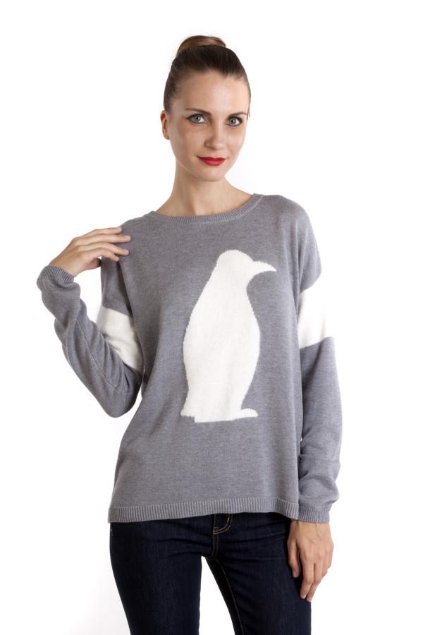 Пуловер OuiПуловеры<br>Стильный пуловер Oui серого цвета с оригинальным изображением пингвина в профиль. Модель свободного кроя с округлым вырезом горловины, но стоит повернуться спиной все меняется. Вырез делает этот пуловер неповторимым. Можно сочетать с джинсами-скинни.<br><br>Размер RU: 52<br>Пол: Женский<br>Возраст: Взрослый<br>Материал: полиамид 35%, вискоза 35%, хлопок 27%, шерсть 3%<br>Цвет: Серый