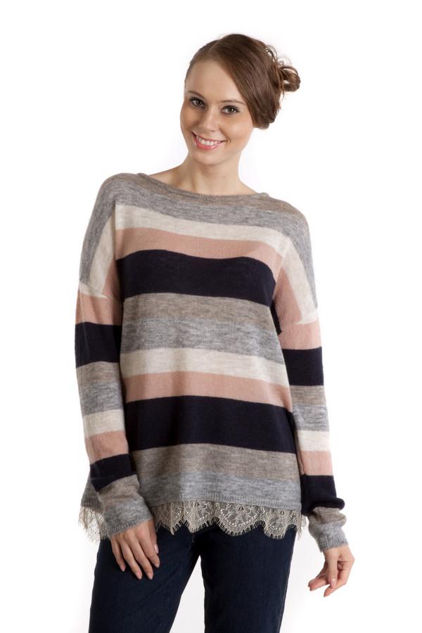 Пуловер OuiПуловеры<br>Пуловер Oui украшенный разноцветными полосками выполнен из настоящей шерсти. Благодаря удобному фасону вы легко можете одевать такие вещи на работу, в университ и на прогулку с друзьями. Свободный крой придает образу легкости, а кружево, которым пуловер украшен в нижней части придаст вам романтичности. Сочетание насыщенных цветов: серого, черного, зеленого и розового поможет сохранять хорошее настроение в любую погоду.<br><br>Размер RU: 40<br>Пол: Женский<br>Возраст: Взрослый<br>Материал: полиамид 23%, шерсть 77%<br>Цвет: Разноцветный