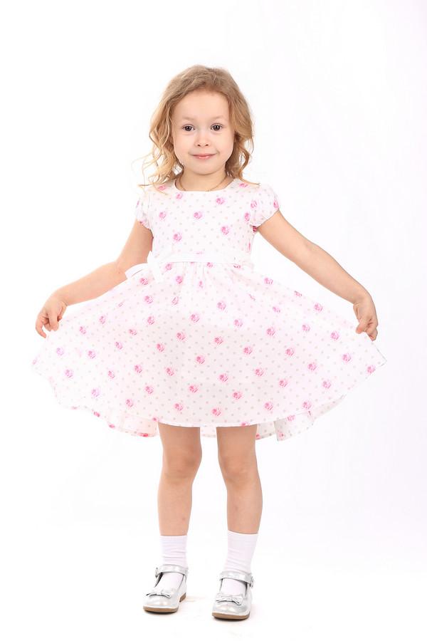 Платье SarabandaПлатья<br>Платье Sarabanda бело-розовое. Малышка почувствует себя настоящей принцессой в таком милом и очень нежном изделии. Широкая расклешенная юбка не сковывает движений, вещи такого кроя оптимальны для активного образа жизни ребенка. Состав: 100%-ный хлопок. Отличное решение для маленькой модницы. Талия изделия украшена белой ленточкой с бантиком.<br><br>Размер RU: 30;116<br>Пол: Женский<br>Возраст: Детский<br>Материал: хлопок 100%, Состав_подкладка хлопок 100%<br>Цвет: Розовый