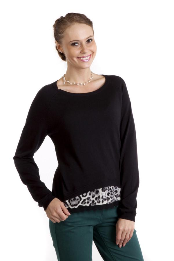 Пуловер OuiПуловеры<br>Черный пуловер фирмы Oui имеет интересную вставку в нижней части. Она оформлена расскраской по типу леопардовой шерсти в серых тонах.Кроме того, она украшена кружевом. Благодаря свободному покрою пуловер будет удобно носить и в тоже время, он будет подчеркивать все достоинства вашей фигуры. Такую одежду можно носить, как в повседневной жизни, так и на работу, дополнив образ шарфом.<br><br>Размер RU: 50<br>Пол: Женский<br>Возраст: Взрослый<br>Материал: полиамид 35%, вискоза 35%, хлопок 27%, шерсть 3%<br>Цвет: Чёрный