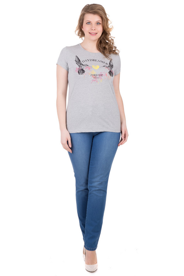 женская джинсовые футболка locust, серая