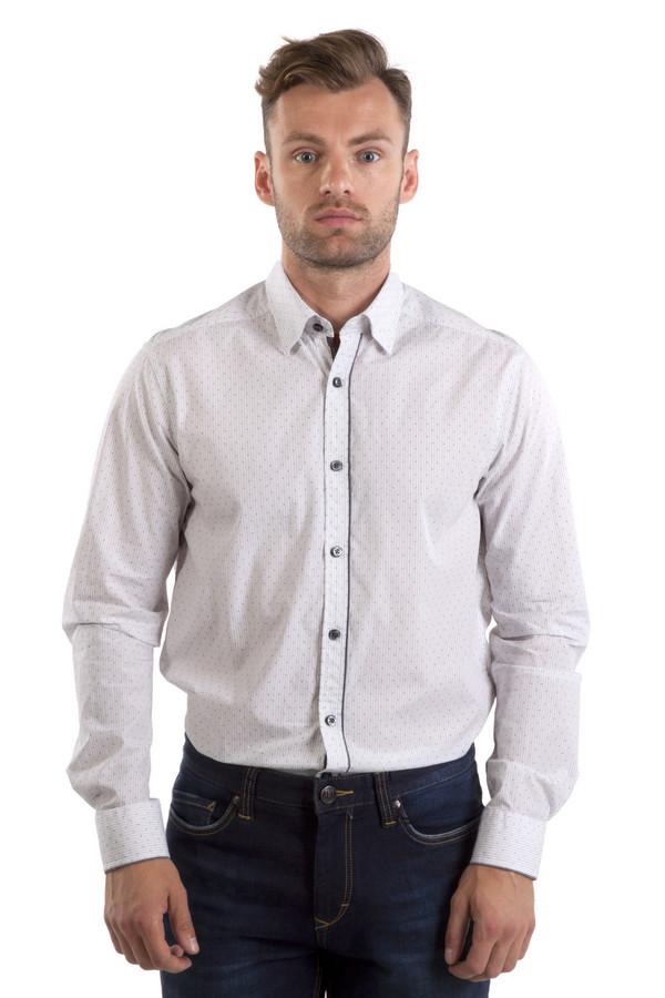 Рубашка с длинным рукавом CalamarДлинный рукав<br>Белая полосатая рубашка из плотного хлопкового материала приятного на ощупь от бренда Calamar. Изделие дополнено: отложным классическим воротником, втачными рубашечными рукавами и манжетами с застежкой-пуговица. Модель застегивается на планку с пуговицами. Рубашка декорирована оригинальным принтом в виде вопросительного знака. Планка оформлена темно-серой оторочкой.<br><br>Размер RU: 39-40<br>Пол: Мужской<br>Возраст: Взрослый<br>Материал: хлопок 100%<br>Цвет: Белый