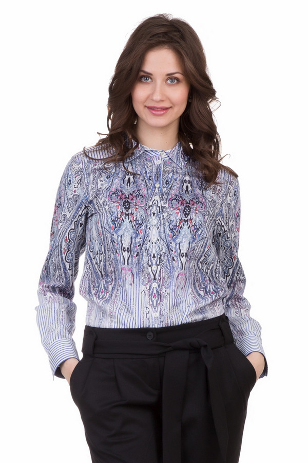 Блузa Gerry WeberБлузы<br>Блузa Gerry Weber разноцветная. Блуза-рубашка на пуговичках – модель очень примечательная и симпатичная. Строгий традиционный крой дополнен уникальным рисунком: в полоску и с абстрактными мотивами. Выглядит эта комбинация просто потрясающе. Демисезонная вещь из 100%-ного хлопка.<br><br>Размер RU: 46<br>Пол: Женский<br>Возраст: Взрослый<br>Материал: хлопок 100%<br>Цвет: Разноцветный
