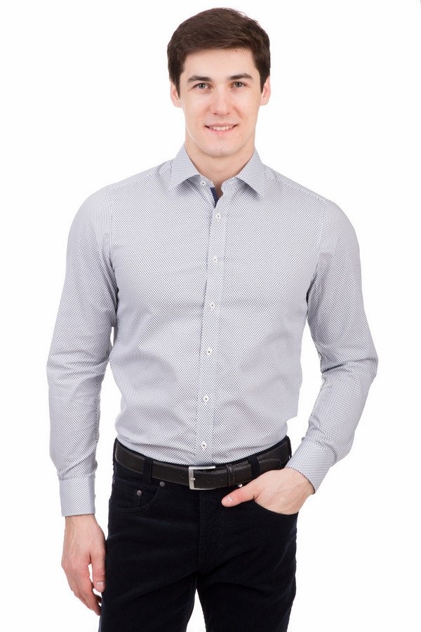 Рубашка с длинным рукавом MarvelisДлинный рукав<br>Рубашка с длинным рукавом Marvelis бело-синяя. Мелкий узор этого изделия смотрится просто восхитительно. Вы хотите выглядеть на все 100? Тогда эта модель создана как раз для вас. Рубашка с длинным рукавом и с вставкой из темно-синей ткани на планке – это синоним стиля и элегантности, их наилучшее воплощение. Состав: 100%-ный хлопок.<br><br>Размер RU: 39<br>Пол: Мужской<br>Возраст: Взрослый<br>Материал: хлопок 100%<br>Цвет: Синий