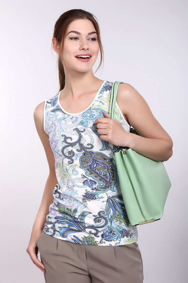Топ PezzoТопы<br>Топ Pezzo разноцветный. Целый хоровод красок – белые, серые, голубые, синие, сиреневые и фиолетовые цветочные мотивы – уместились на этом изделии. Некоторые вещи влюбляют в себя с первого взгляда. Наш топ – одна из них. Состав: вискоза плюс эластан. Сочетайте его с самой разной одеждой, особенно хорош он будет с вещами из джинсовой ткани.<br><br>Размер RU: 48<br>Пол: Женский<br>Возраст: Взрослый<br>Материал: эластан 5%, вискоза 95%<br>Цвет: Разноцветный