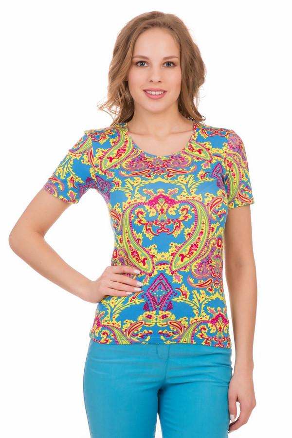 Футболка PezzoФутболки<br>Футболка Pezzo разноцветная. Отличная модель для стильной девушки. Буйство красок – голубой, розовый, желтый, зеленый, сиреневый, фиолетовый – делают эту вещь очень примечательной и яркой. Сочетать такую футболку лучше всего с чем-то однотонным. Состав: вискоза и эластан. Хороша данная вещь будет под джинсы или под более романтичную одежду, например, многослойную однотонную юбочку из шифона.<br><br>Размер RU: 42<br>Пол: Женский<br>Возраст: Взрослый<br>Материал: эластан 5%, вискоза 95%<br>Цвет: Разноцветный