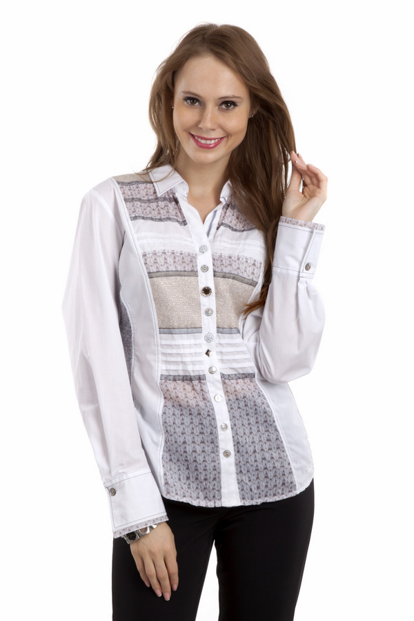 Рубашка с длинным рукавом SE StenauДлинный рукав<br>Рубашка для женщин, сшитая по классическому крою. У данной модели отложной воротник и длинный рукав. Это рубашка на ярких пуговицах от бренда SE Stenau, которая сшита из смеси хлопка и полиэстера. Изделие представлено в белом цвете и дополнено вставками с горизонтальными защипами, а также с принтом, который имитирует вязку.<br><br>Размер RU: 52<br>Пол: Женский<br>Возраст: Взрослый<br>Материал: хлопок 35%, полиэстер 65%<br>Цвет: Разноцветный