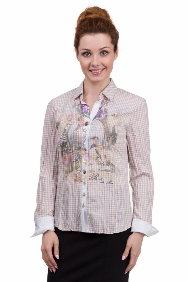 Рубашка с длинным рукавом SE StenauДлинный рукав<br>Женская клетчатая рубашка от фирмы SE Stenau. Данная рубашка сшита по классическому покрою с отложным воротником и длинным рукавом, а застегивается она на пуговицы. Рубашка пошита из ткани в мелкую светло-коричневую клетку, с белыми манжетами и оригинальным размытым принтом с надписями на груди, который украшен стразами. Материал — хлопок с добавлением полиэстера.<br><br>Размер RU: 42<br>Пол: Женский<br>Возраст: Взрослый<br>Материал: хлопок 35%, полиэстер 65%<br>Цвет: Разноцветный