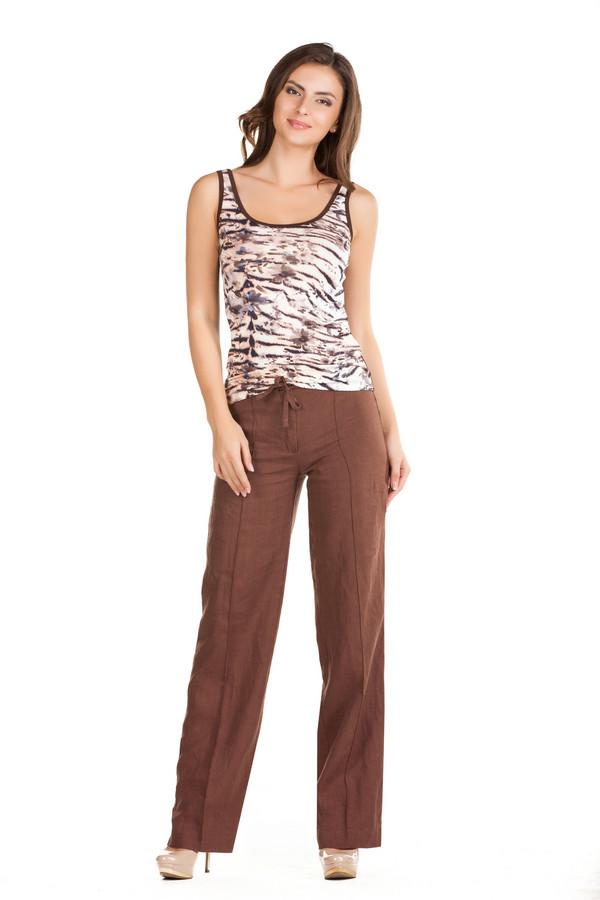 Брюки FemmeБрюки<br>Брюки Femme коричневые. Элегантные прямые брюки из натуральной ткани – это именно то, что требуется на лето каждой из нас, в таком изделии не жарко и очень комфортно вне зависимости от погоды и времени суток. Состав: 100%-ный лен. В центре брючин – складочка, что делает эту модель подходящей и для официальных мероприятий. Пояс-завязка – также очень удобно и стильно.<br><br>Размер RU: 50<br>Пол: Женский<br>Возраст: Взрослый<br>Материал: лен 100%<br>Цвет: Коричневый