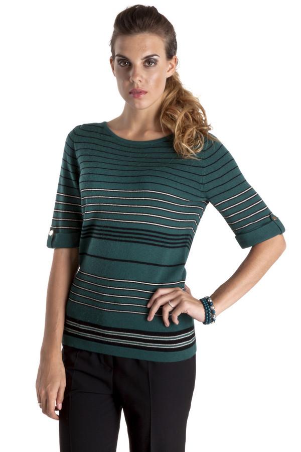 Пуловер PezzoПуловеры<br>Элегантный пуловер Pezzo модного изумрудного цвета с горизонтальными полосками. Изделие дополнено: круглым вырезом и рукавами до локтя. Изделие выполнено из высококачественного материала приятного на ощупь.<br><br>Размер RU: 44<br>Пол: Женский<br>Возраст: Взрослый<br>Материал: вискоза 75%, шерсть 25%<br>Цвет: Зелёный