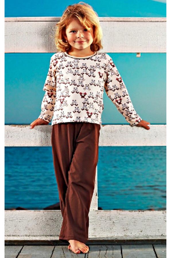 Пижама LowryПижамы<br>Пижама Lowry бело-коричневая для девочки. Милый рисунок верха этого комплекта отлично сочетается с его однотонным низом. Шоколадный оттенок брючек придется по душе маленькой моднице, к тому же это очень практично. Состав: 100%-ный хлопок. Изделие служит для круглогодичной носки. Рекомендуем такую модель, ведь она удобна и комфортна.<br><br>Размер RU: 26<br>Пол: Женский<br>Возраст: Детский<br>Материал: хлопок 100%<br>Цвет: Коричневый