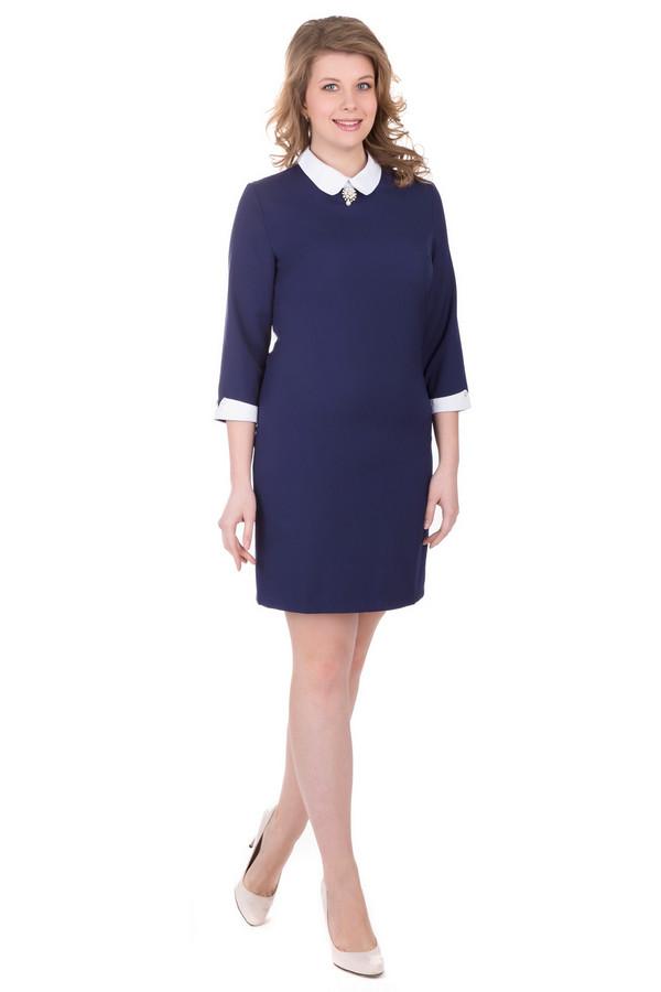 Платье MarimayПлатья<br>Строгое платье Marimay темно-синего цвета. Чуть приталенное платье-чехол до середины бедра. Небольшой отложной воротничок белого цвета, украшенный брошью. Белые манжеты на рукавах длиною три четверти. В состав изделия входят эластан, полиэстер и хлопок. Осенью или весной в этом платье вы будете чувствовать себя наиболее комфортно.<br><br>Размер RU: 56<br>Пол: Женский<br>Возраст: Взрослый<br>Материал: эластан 5%, хлопок 65%, полиэстер 30%<br>Цвет: Синий