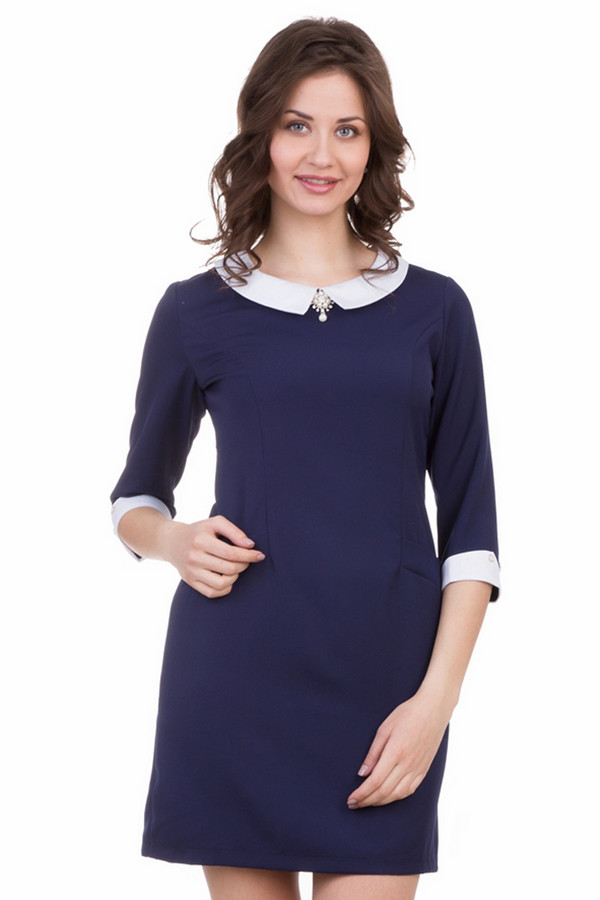 Платье MarimayПлатья<br>Соблазнительное платье Marimay темно-синего цвета. Длина этого платья - до середины бедра. Оно закрытое, приталенное, с рукавом длиною до локтя. Рукав дополняют белые манжеты на пуговке. Вырез горловины округлый, есть небольшой отложной воротничок, украшает изделие брошь. Модель выполнена из эластана, полиэстера и хлопка. В демисезон будет наиболее комфортным.<br><br>Размер RU: 42<br>Пол: Женский<br>Возраст: Взрослый<br>Материал: эластан 5%, хлопок 65%, полиэстер 30%<br>Цвет: Белый