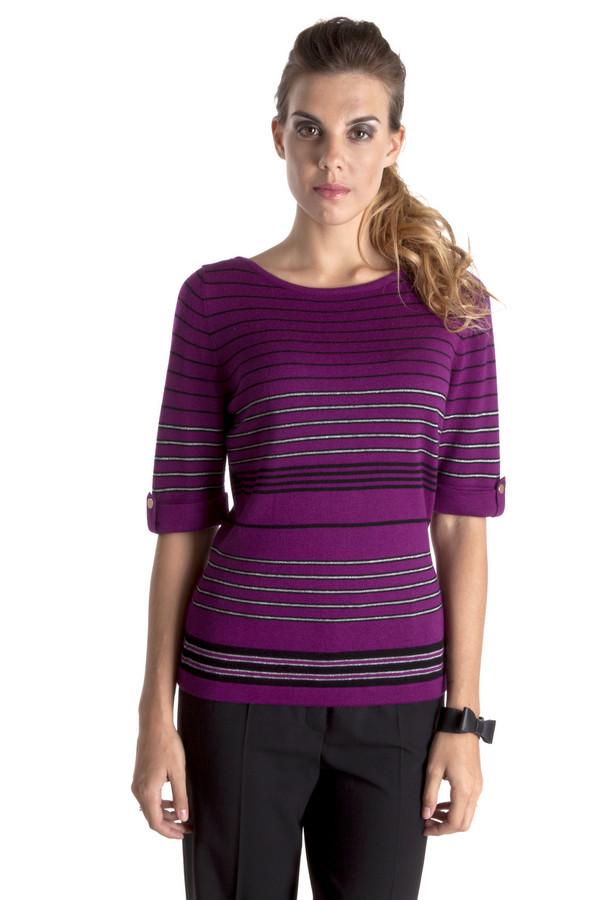 Пуловер PezzoПуловеры<br>Элегантный пуловер Pezzo модного цвета цикламен с горизонтальными полосками. Изделие дополнено: круглым вырезом и рукавами до локтя. Изделие выполнено из высококачественного материала приятного на ощупь.<br><br>Размер RU: 46<br>Пол: Женский<br>Возраст: Взрослый<br>Материал: вискоза 75%, шерсть 25%<br>Цвет: Фиолетовый
