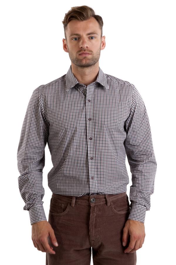 Рубашка с длинным рукавом Just ValeriДлинный рукав<br>Стильная мужская  белая рубашка Just Valeri в коричнево-черную клетку. Изделие дополнено: классическим воротником, длинными рукавами и манжетами с застежкой на пуговицах. Центральная часть застегивается на пуговицы. Рубашка выполнена из натурального хлопкового материала высокого качества.<br><br>Размер RU: 41<br>Пол: Мужской<br>Возраст: Взрослый<br>Материал: хлопок 100%<br>Цвет: Разноцветный