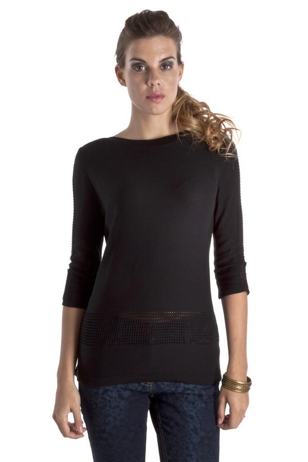 Пуловер Betty BarclayПуловеры<br>Элегантный черный пуловер Betty Barclay прямого кроя. Изделие дополнено: вырезом-лодочка и рукавами 3/4. Пуловер декорирован ажурным вывязанным рисунком. Модель выполнена из высококачественного материала приятного на ощупь.<br><br>Размер RU: 44<br>Пол: Женский<br>Возраст: Взрослый<br>Материал: хлопок 50%, полиакрил 50%<br>Цвет: Чёрный