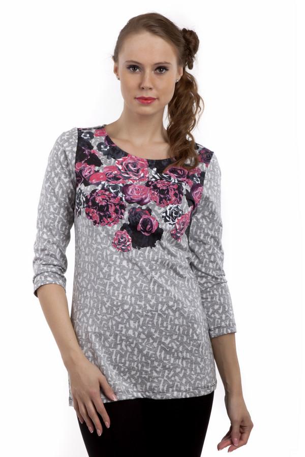 Лонгслив Betty BarclayЛонгсливы<br>Женственная светло-серая футболка Betty Barclay удлиненного кроя. Изделие дополнено: круглым вырезом и рукавами 3/4. Футболка декорирована оригинальным принтом. Зона декольте оформлена рисунком с розами. Футболка выполнена из натурального хлопкового материала приятного на ощупь.<br><br>Размер RU: 42<br>Пол: Женский<br>Возраст: Взрослый<br>Материал: хлопок 100%<br>Цвет: Серый