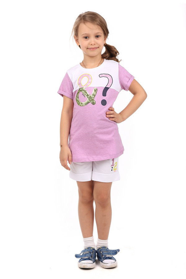 """Футболки и поло BrumsФутболки и поло<br>Детская футболка для девочек от Brums станет отличным дополнением летнего детского гардероба. Футболка сиреневого цвета с белыми вставками. Изделие слегка удлиненное, рукава короткие. Спереди есть принт в виде двух знаков: """"&amp;amp;"""" и """"?"""". Принт выполнен с использованием разных цветов, узоров и материалов. Например, пайетки золотистого цвета. Футболка отлично сочетается как с джинсами, так и с юбкой. Состав изделия - 100% хлопок.<br><br>Размер RU: 28;110<br>Пол: Женский<br>Возраст: Детский<br>Материал: хлопок 100%<br>Цвет: Белый"""