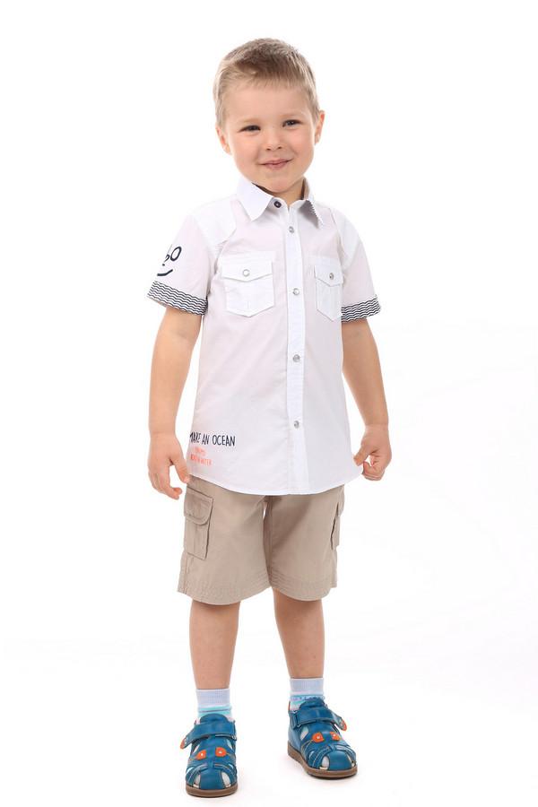 """Рубашка BrumsРубашки<br>Детская рубашка для мальчиков от Brums. Рубашка сделана в белом цвете. Изделие свободное, не облегает, средней длины. Застегивается спереди на пуговицы. Рукава короткие. Нижняя часть рукавов дополнена волнистыми линиями черного цвета. Спереди есть два кармана в области груди. Также на рубашке есть несколько элементов декора в виде надписей: на рукаве надпись """"H2O"""", сбоку - """"Make an ocean"""", сзади - """"Water is healthy H-2O enjoy!"""". Состав изделия - 100% хлопок.<br><br>Размер RU: 32;128<br>Пол: Мужской<br>Возраст: Детский<br>Материал: хлопок 100%<br>Цвет: Белый"""