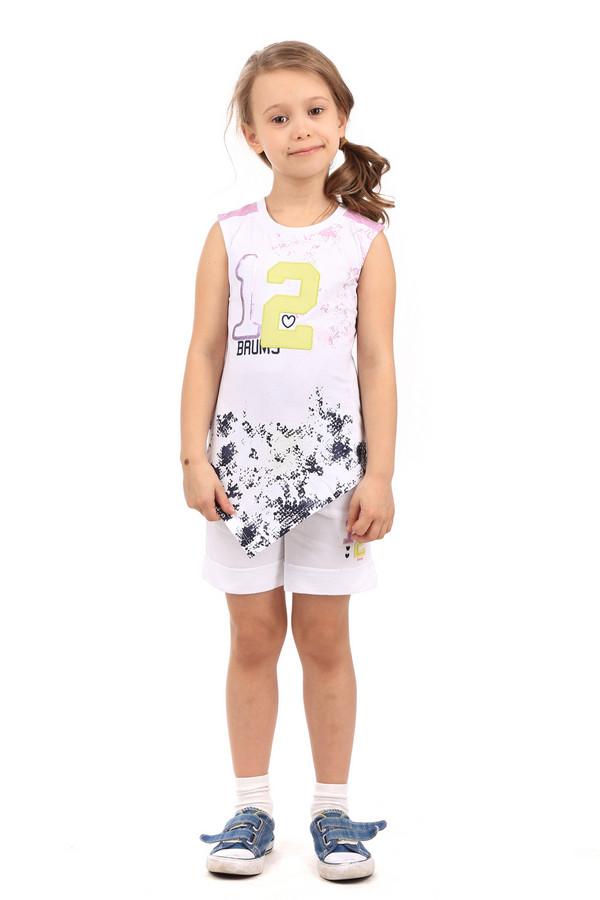 """Футболки и поло BrumsФутболки и поло<br>Необычная детская футболка для девочек от Brums покорит сердце любой юной модницы. Футболка белого цвета, без рукавов, удлиненная. Нижняя часть футболки имеет необычную, V-образную, форму. На плечах есть вставки сиреневого цвета. Спереди есть надпись """"12"""", сделанная из пайеток и другого вида ткани. Сзади есть небольшая вставка желтой ткани в дырочку. Нижняя часть украшена абстрактным рисунком синего цвета. Состав изделия - 100% хлопок.<br><br>Размер RU: 30;116<br>Пол: Женский<br>Возраст: Детский<br>Материал: хлопок 100%<br>Цвет: Разноцветный"""