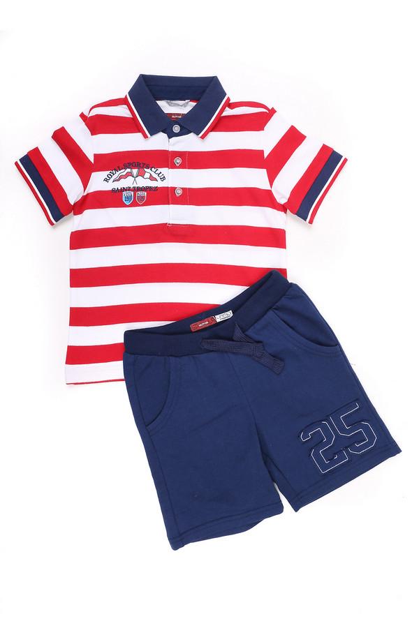 """Комплект SarabandaКомплекты<br>Детский комплект для мальчиков от Sarabanda. Комплект состоит из футболки и шорт. Футболка бело-красная, сделана в полоску. Есть небольшие вставки синего цвета. На футболке есть V-образный вырез, который застегивается на пуговицы. Спереди и сзади футболки есть принт. Шорты темно-синего цвета, средней длины. Ширина пояса регулируется с помощью шнурка-затяжки. Спереди и сзади есть по два кармана. Спереди шорты дополнительно украшены нашивкой """"25"""". Состав изделия - 100% хлопок.<br><br>Размер RU: 28;104<br>Пол: Мужской<br>Возраст: Детский<br>Материал: хлопок 100%<br>Цвет: Разноцветный"""