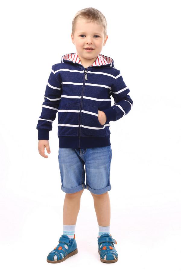 Джемперы и кардиганы SarabandaДжемперы и кардиганы<br>Детский джемпер для мальчиков от Sarabanda. Джемпер выполнен в синем цвете с белой горизонтальной полоской. Длина изделия средняя, рукава длинные. Спереди застегивается на молнию. Также спереди есть два кармана. Есть капюшон. Внутренняя часть капюшона белого цвета в красную полоску. Данный джемпер отлично будет смотреться поверх футболки. Также его можно носить зимой под куртку. Состав - 100% хлопок.<br><br>Размер RU: 30;122<br>Пол: Мужской<br>Возраст: Детский<br>Материал: хлопок 100%<br>Цвет: Синий