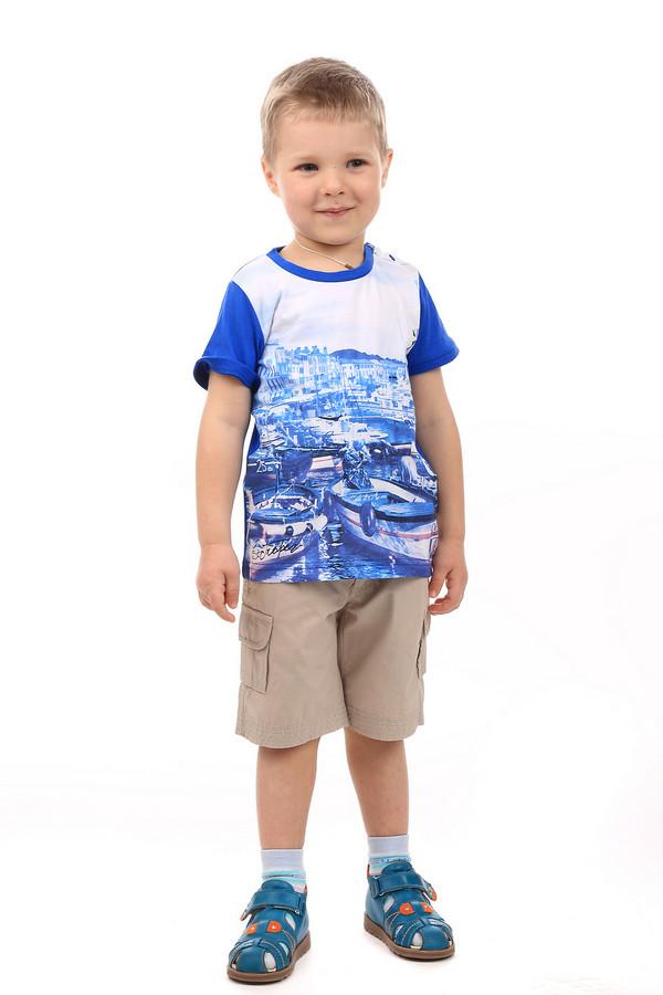 Футболки и поло SarabandaФутболки и поло<br>Детская футболка для мальчиков от Sarabanda. Футболка синего цвета с белыми вставками, средней длины, с коротким рукавом. Спереди на футболке нарисован портовый город с отплывающими кораблями. Футболка яркая и запоминающаяся. Футболка отлично сочетается с джинсами или шортами. Также её можно носить под кофту или куртку. Состав изделия - 100% хлопок.<br><br>Размер RU: 26;98<br>Пол: Мужской<br>Возраст: Детский<br>Материал: хлопок 100%<br>Цвет: Белый