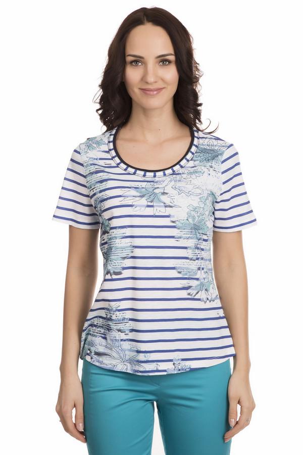 Футболка Betty BarclayФутболки<br>Весенние цветы на футболке от Betty Barclay подарят настоящее праздничное настроение. Футболка белого цвета в синюю горизонтальную полоску. Изделие слегка удлиненное, свободное, слегка заужено в области талии. Рукава короткие. Есть небольшой круглый вырез. На передней части футболки нарисованы большие цветы серого и голубого цветов. Эта футболка станет незаменимой частью летнего гардероба, ведь её цвета универсальны и подходят практически под всё. Состав изделия - 100% хлопок.<br><br>Размер RU: 46<br>Пол: Женский<br>Возраст: Взрослый<br>Материал: хлопок 100%<br>Цвет: Разноцветный