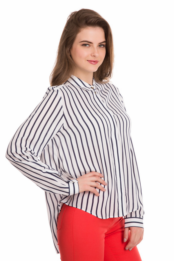 Блузa ErfoБлузы<br>Блузa Erfo бело-синяя женская. Потрясающе стильная модель для современных женщин. Блуза свободного кроя рубашечного типа с длинным рукавом. Маленький отложной воротничок делает её кокетливой и интригующей. Очень интересен крой блузы с большей длиной нижней части спинки. Вертикальные полосы на ткани зрительно делают фигуру ещё стройнее. Состав: 100%-ная вискоза.<br><br>Размер RU: 44<br>Пол: Женский<br>Возраст: Взрослый<br>Материал: вискоза 100%<br>Цвет: Синий
