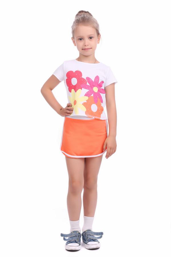 Комплект BrumsКомплекты<br>Комплект Brums для девочки. Разноцветный костюм для малышки - это белый, розовый, оранжевый и жёлтый цвета и удобный крой в придачу. Милая юбочка со светлым поясом и отделкой по краю изделия, а также футболка с ярким оптимистичным цветочным принтом спереди – это составляющие успеха данной модели. Летняя вещь для каждодневной носки.<br><br>Размер RU: 30;116<br>Пол: Женский<br>Возраст: Детский<br>Материал: см. на вшивном ярлыке 0%<br>Цвет: Разноцветный
