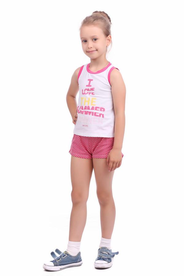 Комплект BrumsКомплекты<br>Комплект Brums бело-розовый для девочки. Короткие шортики в горошек с однотонной резинкой, а также белая футболка с разноцветной надписью создают отличный ансамбль для модной малышки. Проймы рукавов и вырез горловины отделаны однотонной розовой тканью, что делает этот костюмчик еще привлекательнее. Хороший комплект для жарких летних дней.<br><br>Размер RU: 30;122<br>Пол: Женский<br>Возраст: Детский<br>Материал: см. на вшивном ярлыке 0%<br>Цвет: Разноцветный