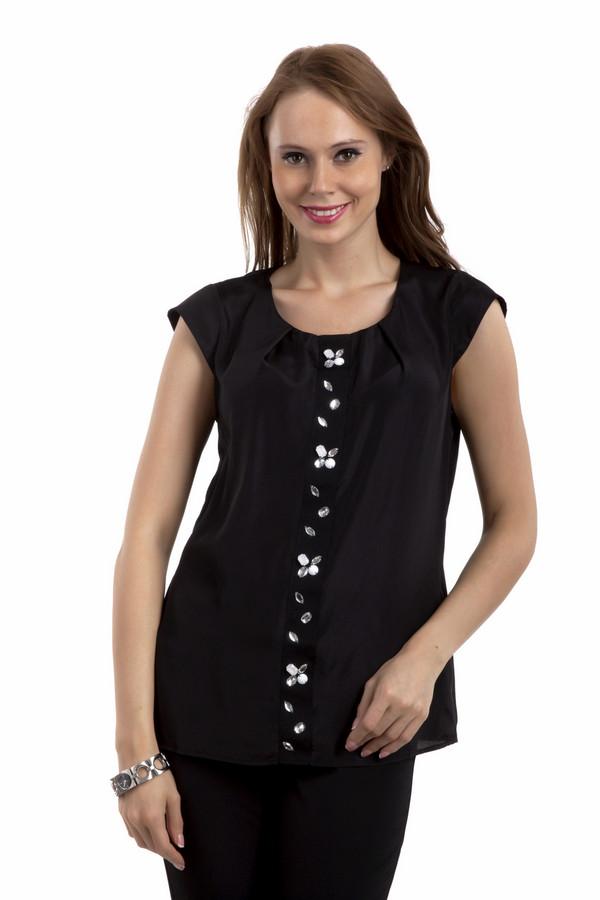 Блузa Just ValeriБлузы<br>Легкая женственная блуза Just Valeri свободного кроя представлена в двух цветах, нежно-розовом и черном. Изделие дополнено: круглым вырезом, застежкой на одной пуговице на спинке и короткими рукавами. Блуза оформлена декором из камней и страз.<br><br>Размер RU: 40<br>Пол: Женский<br>Возраст: Взрослый<br>Материал: полиэстер 100%<br>Цвет: Чёрный