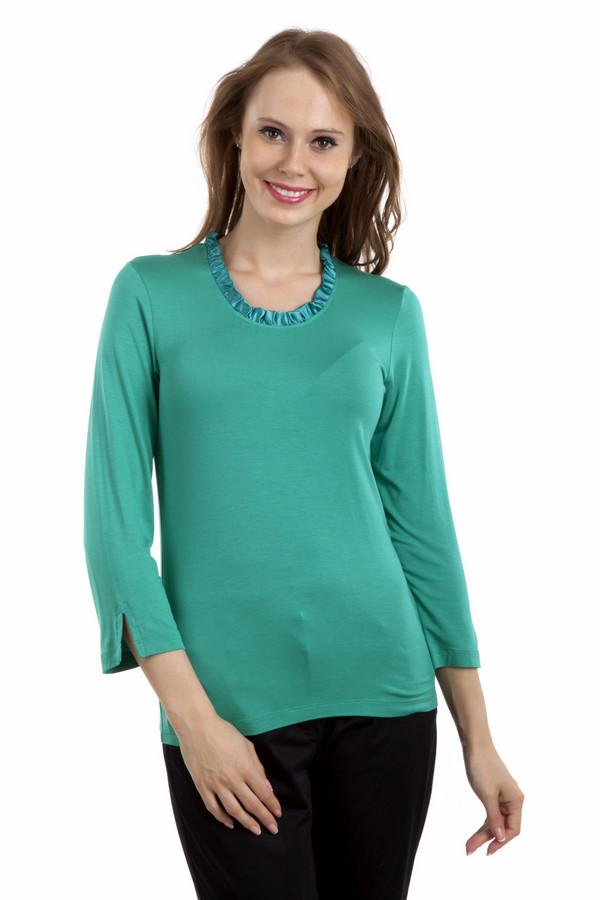 Блузa PezzoБлузы<br>Однотонная блуза Pezzo цвета морской волны прямого кроя. Изделие дополнено: круглым вырезом, укороченными рукавами и манжетами с разрезом. Ворот оформлен атласной лентой.<br><br>Размер RU: 46<br>Пол: Женский<br>Возраст: Взрослый<br>Материал: вискоза 95%, спандекс 5%<br>Цвет: Зелёный
