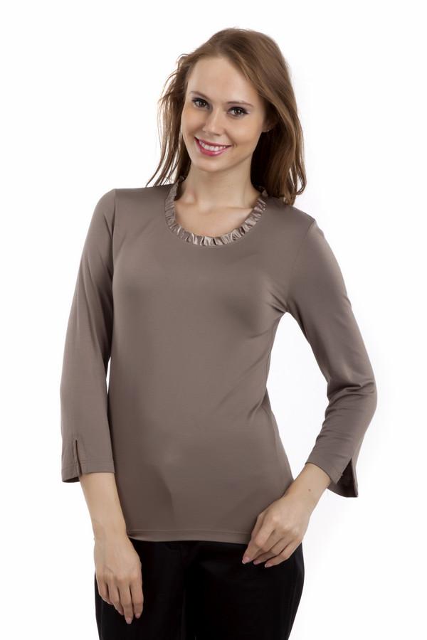 Блузa PezzoБлузы<br>Однотонная блуза Pezzo цвета какао с молоком прямого кроя. Изделие дополнено: круглым вырезом, укороченными рукавами и манжетами с разрезом. Ворот оформлен атласной лентой.<br><br>Размер RU: 44<br>Пол: Женский<br>Возраст: Взрослый<br>Материал: вискоза 95%, спандекс 5%<br>Цвет: Коричневый