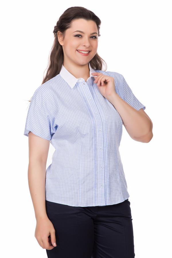 Блузa SteilmannБлузы<br>Блуза фирмы Steilmann имеет клетчатый принт. Модель дополнена откладным воротничком на стойке из белой ткани. Застежка - на пуговицы дополнена пришитой планкой с кружевной вставкой. Рукав короткий - реглан. Блуза приталенная, вытачки которые проходят с верху в низ придают этой модели очарование. Ткань состоит из 100% хлопка. Изделие прекрасно может подчеркнуть особенности вашего образа.