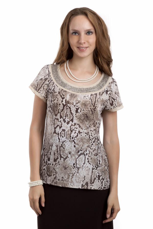 Блузa PezzoБлузы<br>Модная блуза Pezzo c змеиным принтом. Ворот изделия украшен бусинами.<br><br>Размер RU: 44<br>Пол: Женский<br>Возраст: Взрослый<br>Материал: полиэстер 100%<br>Цвет: Разноцветный