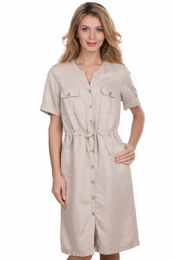 Платье GelcoПлатья<br><br><br>Размер RU: 50<br>Пол: Женский<br>Возраст: Взрослый<br>Материал: лен 23%, тенсель 77%<br>Цвет: Бежевый