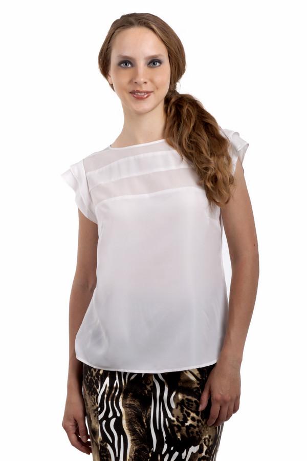 Блузa PezzoБлузы<br>Нежная однотонная блуза Pezzo прямого кроя представлена в двух контрастных классических цветах, черный и белый. Изделие дополнено круглым вырезом и короткими рукавами. Зона декольте оформлена горизонтальными широкими полосками из полупрозрачной ткани.<br><br>Размер RU: 50<br>Пол: Женский<br>Возраст: Взрослый<br>Материал: полиэстер 100%<br>Цвет: Белый