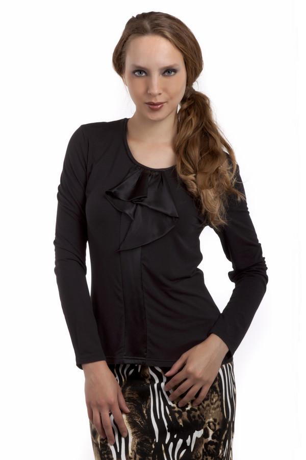 Блузa PezzoБлузы<br>Элегантная блуза Pezzo приталенного кроя представлена в двух цветах, классическом черном и бежевом. Изделие дополнено круглым вырезом и длинными рукавами. Зона декольте оформлена фактурным жабо.<br><br>Размер RU: 46<br>Пол: Женский<br>Возраст: Взрослый<br>Материал: вискоза 95%, спандекс 5%<br>Цвет: Чёрный